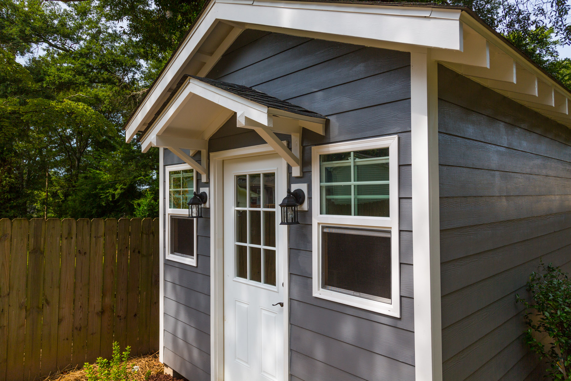 This Craftsman Style Storage Shed Was Built To Customer Specifications Including Custom Shelving And Electricity Which S The Refrigerator Lighting