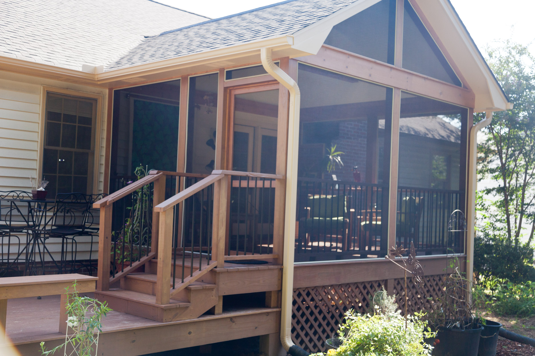 Screened porch addition solid construction for Screen porch screen